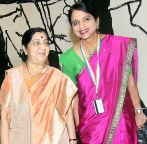 With India's Minister of External Affairs, Ms Sushma Swaraj at UNGA